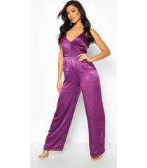 velvet satin plunge wide leg jumpsuit, purple