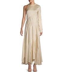 silk-blend single long-sleeve dress