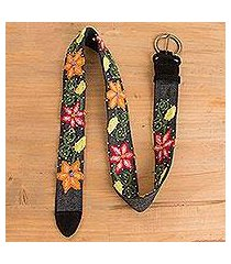 leather accented wool and cotton belt, 'florid paradise' (peru)