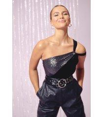 womens feelin' the music one shoulder velvet bodysuit - black