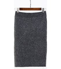 new fashion winter back split slim knee length knit skirt