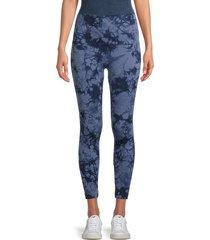 bagatelle women's seamless tie-dyed leggings - blue tie dye - size l