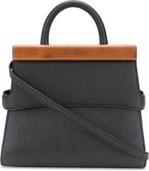 calicanto wooden-block small tote bag - black
