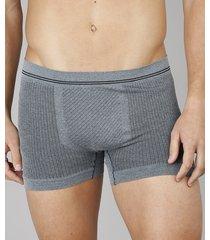 cueca boxer masculina sem costura texturizada cinza mescla