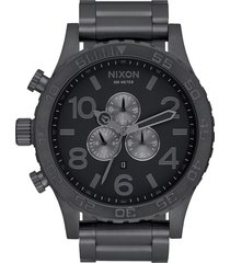nixon 'the 51-30 chrono' watch, 51mm in gunmetal/black at nordstrom