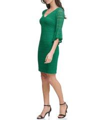 kensie geo-lace bell-sleeve sheath dress