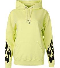 flame print hooded sweatshirt acid yellow