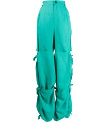 natasha zinko tied scarf high-rise trousers - green