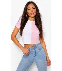 jumbo geribd t-shirt met colourblocking, roze