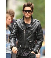jared leto leather jacket, black biker jacket, motorcycle leather jacket