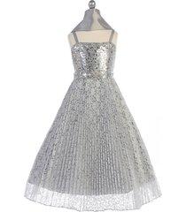 silver girl dress sequins bodice lace pleated skirt rhinestones brooch waistline