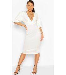balloon sleeve twist detail midi dress, white