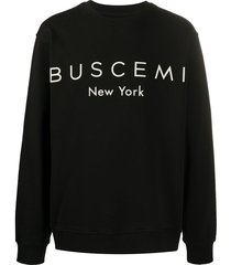 buscemi logo-print cotton sweatshirt - black