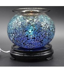 blue & purple crackle glass oil/tart warmer - use with scentsy wax