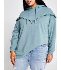 river island womens plus green frill chevron ribbed hoodie