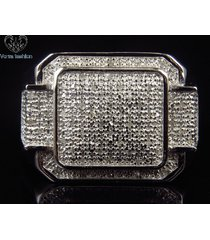1.25 ct diamond round cut white gold plated 925 silver men's band wedding ring