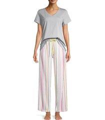 hue women's keep moving 2-piece top & pants pajama set - sleet - size l