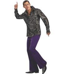 buyseasons men's disco shirt black with silver stars