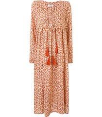 bambah concha geometric print kaftan dress - orange