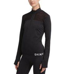 dkny sport mesh-trimmed half-zip top