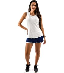 regata rich young fitness branca + shorts saia fitness azul com branco