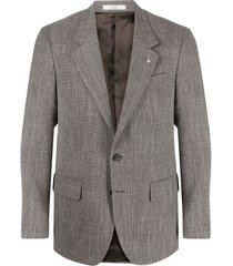 corneliani stitched single-breasted blazer - brown
