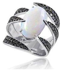 anel nice garras noir branco c/ opala e diamantes black