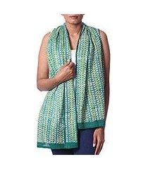 batik cotton shawl, 'leafy vines' (india)
