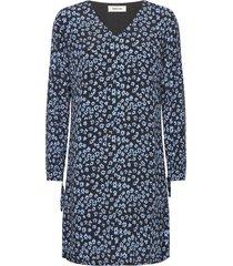 fidel short print dress korte jurk blauw modström