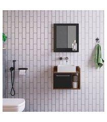 conjunto para banheiro bangkok com gabinete suspenso 1 pt preto e marrom