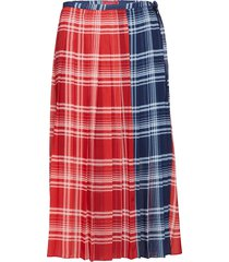 pleated madras wrap, knälång kjol röd hilfiger collection