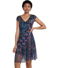 vestido azul-multicolor desigual