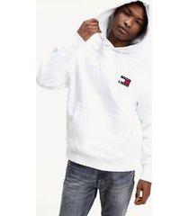 tommy hilfiger men's organic cotton tommy badge hoodie white - xxl