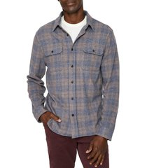 men's 7 diamonds ford slim fit stretch plaid flannel button-up shirt, size medium - beige