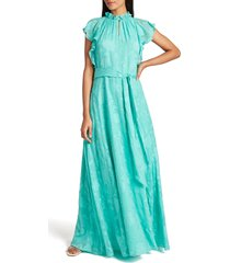 women's tahari ruffle neck floral jacquard gown, size 16 - blue/green