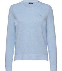 cotton pique c-neck gebreide trui blauw gant
