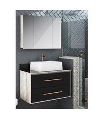 gabinete para banheiro suspenso 80cm 2 gavetas lilies móveis