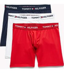 tommy hilfiger men's everyday microfiber boxer brief 3pk red/white/navy - s