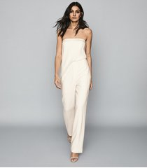 reiss toni - satin trimmed bandeau jumpsuit in ivory, womens, size 10