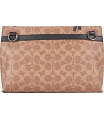 coach men's academy guang yu pouch bag - khaki/orange