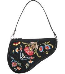 christian dior pre-owned saddle embroidery flower handbag - black