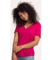 camiseta decote v ampla em modal cora básico feminina - feminino