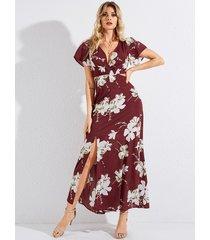 vestido de manga corta con cuello en v profundo con estampado floral rojo de yoins