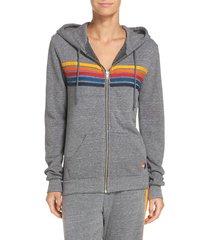 women's aviator nation 5-stripe zip hoodie, size small - grey