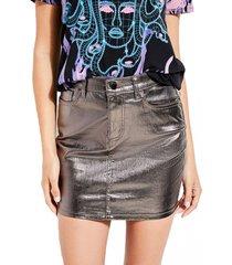falda hi gloss metallic bodycon plateado guess