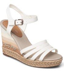 tommy gradient high wedge sandal sandalette med klack espadrilles vit tommy hilfiger