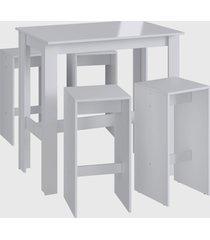 conjunto mesa bancada 4 banqueta alta branco mã³veis canã§ã£o - branco - dafiti