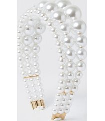river island womens white triple row pearl headband