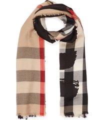 archive check fringe edge wool silk blend scarf