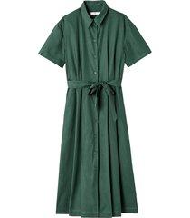 lång, utställd skjortklänning i ren bomull